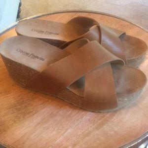 Cristina Francini wedge sandals sz 8